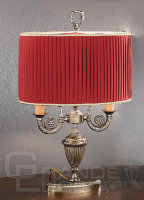 Настольная лампа 870/2C BR.GOLD+BORDO SHADE, Nervilamp